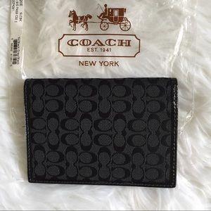 Coach Signature Passport Case Black/Gray NWT